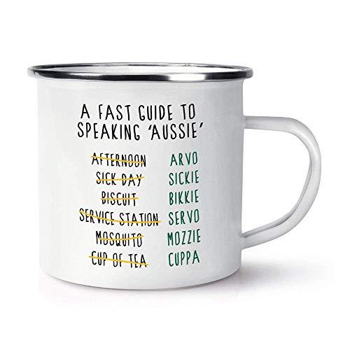 N\A Una guía rápida para Hablar Australiano Taza de cerámica Brillante con Esmalte Retro de 10 oz con asa en C Australia Australiano Divertido