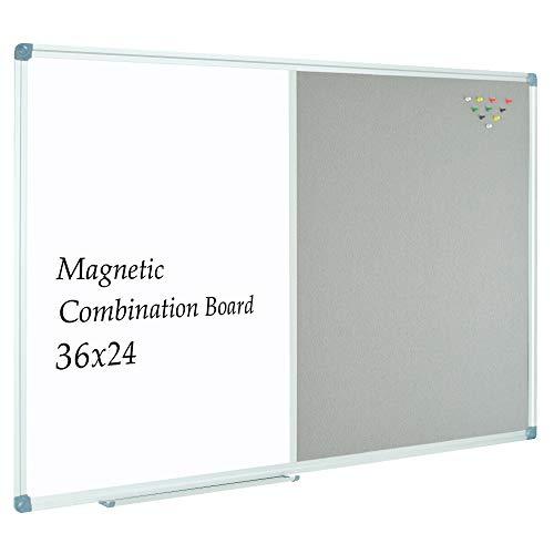 JILoffice Dry Erase Whiteboard/Grey Felt Bulletin Combination Board, Combo Board 36 x 24 Inch, Silver Aluminum Frame Wall Mounted Board for Office Home and School
