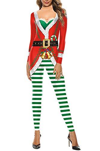 Fixmatti Women Christmas Santa Claus Bodycon Cosplay Xmas Party Jumpsuit Red L