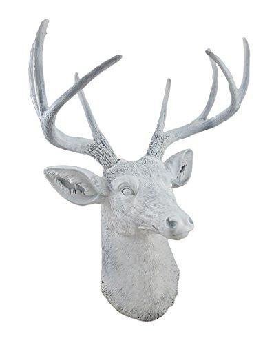 Things2Die4 8 Point Buck Deer Head Bust Wall Hanging White