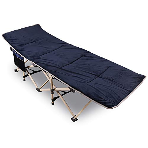 REDCAMP Feldbett Klappbar mit Auflage für Erwachsene, 190 x 71 x 38 cm Faltbar Campingbett XXL mit Matratze bis 226 kg Belastbar für Camping Outdoor Garten Innen, Marineblau