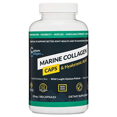 Marine Collagen Peptides Plus Hyaluronic Acid Capsules (180 Count) - Clean Marine Collagen Supplement - Made from Wild Caught Fish - Kosher, Paleo, Non-GMO, Unflavored - Made in The USA