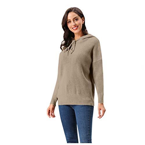 GreatestPAK Eleganter Kapuzenpullover Damen gestreifter Strickpullover einfarbig Langarm Sweater,Khaki,Etiketten:(Büste:114cm)