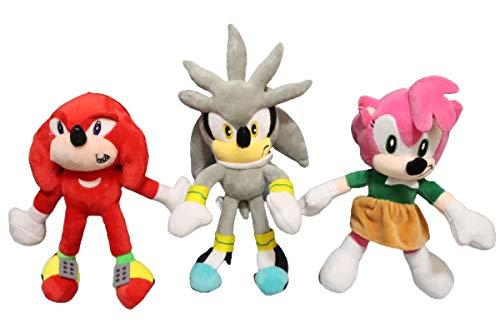 QIMA Sonic Toy 3 unids/Lote Sonic The Hedgehog Muñeca de Peluche Shadow Amy KnucklesTails Sonic Silver Dolls Toy Decoración del hogar Regalos de cumpleaños para niños