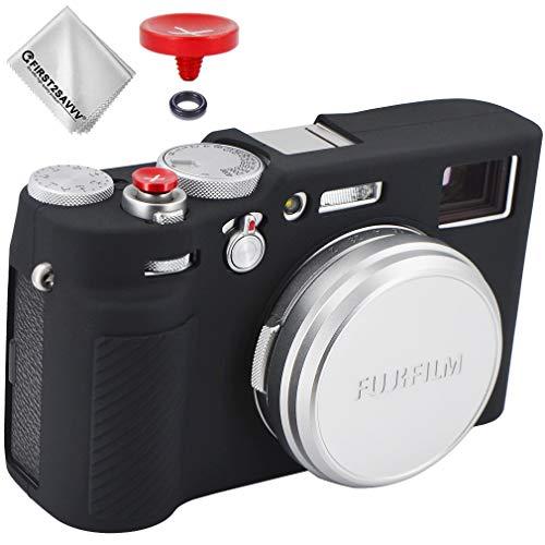 Silikon-Schutzhülle Kameratasche Rubber Case Schutzhülle für Fuji Fujifilm X100V + Auslöseknopf (schwarz)