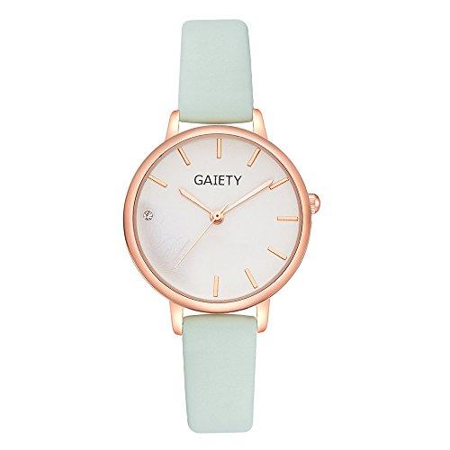 Armbanduhr Damen Ronamick Frauen-Lederband-analoge Quarz-runde Armbanduhr-Uhren Armband Armbanduhr Uhr Uhren(MG)