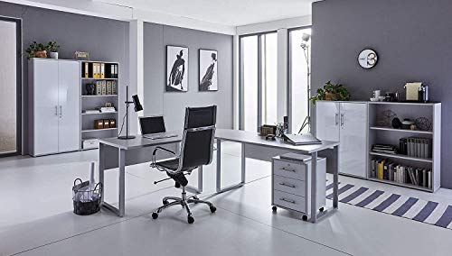 Büromöbel komplett Set Bürokombination Office Edition in Lichtgrau Weiß matt - Made in Germany - (Set 1)