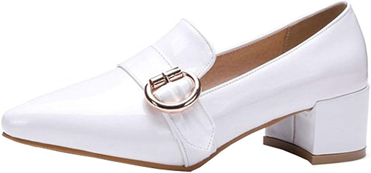 Unm Women's Buckle Strap Pointed Toe Dress Block Mid Heels Slip On Pumps Wear to Work Office shoes
