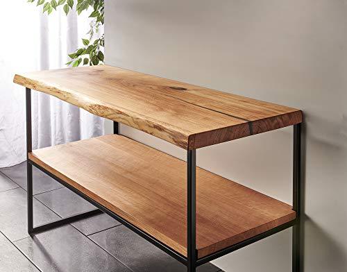 Waschtisch Eiche massiv Baumkante geölt Waschtischkonsole Holz (100 x 50 cm)