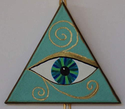 EYE OF HILARION Horus Auge Wand oder Tür Deko Dreieck türkis grün blau golden Ägyptisches Auge Symbol Zeichen Schutz Glücksbringer