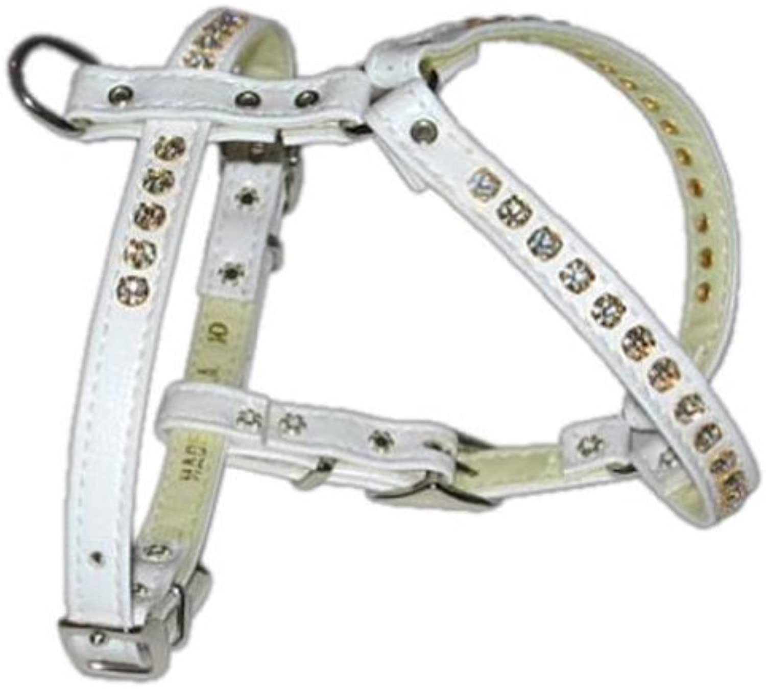 Dog   Cat   Pet Charms Comfort Harness White w  Clear Stones 10