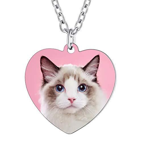 Colgante Personalizado con Fotos Cadena Eslabones Redondos Rolo Ajustable Collar Elegante Joyería Moderna Corazón Amor