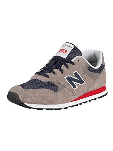 New Balance de los Hombres 393 Zapatillas de Gamuza, Gris, 45 EU