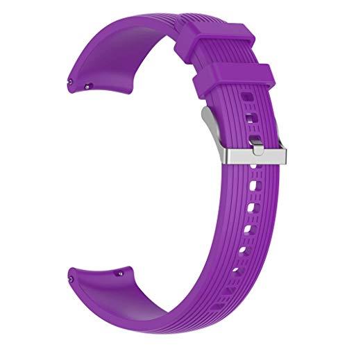 WE-WHLL i For -Samsung -Galaxy Watch Active Watch 3 Correa de Silicona con Rayas Rectas de 41 mm 20-Purple Red