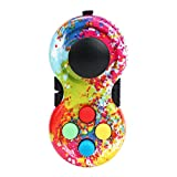 Game Pad Fidget Toy for Anxiety, Video Game Controllers Fidget Toy, Fidget Blocks with 8-Fidget Functions for Stress Relieving (Tie Dye - Rainbow, 2.8x1.4x1in-1PC)