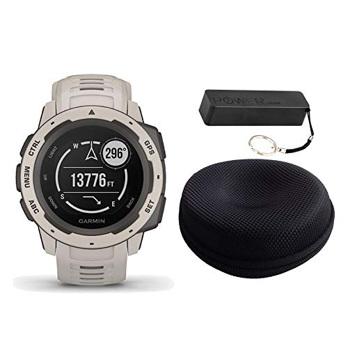 Garmin Instinct Rugged Outdoor Watch Bundle Flame Red - Includes Power Bank | Watch Case