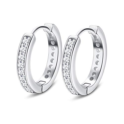 Sllaiss 925 Sterling Silver Small Hoop Earrings for Women Men Cubic Zirconia Cartilage Earrings Huggie Hoop Earrings 12MM White Gold Plated Earrings
