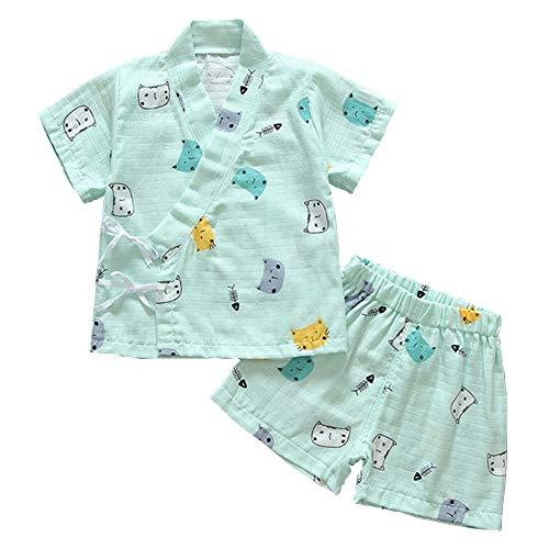 Pijama para Bebé Infantil Mono Algodón Kimono Estilo Japonés Ropa Camisa del Bebé Dormir Set Verano Japonesa Pijamas (Cat Green,110cm)