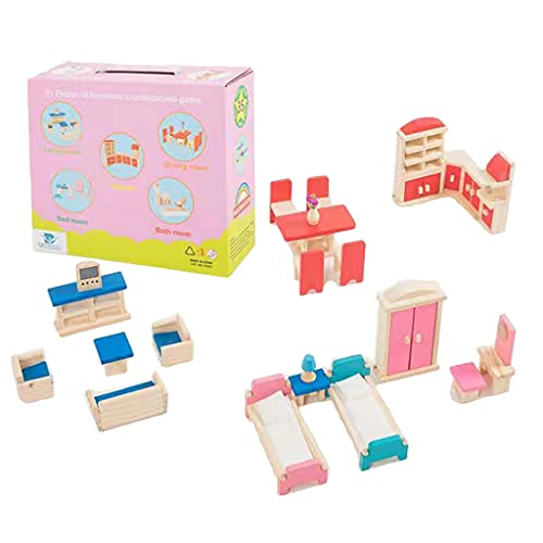 Itlovely 1Set Bedroom Furniture with Bed Closet Wardrobe Pretend Play House Toy Set Interactive & Educational Role Play Game Toy