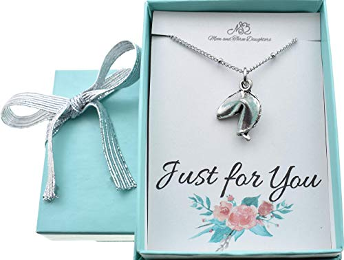 Fortune Cookie Necklace in Antique Silver Pewter on an 18 Inch Stainless Steel Saturn Chain with Lobster Claw Clasp. Fortune Cookie Necklace.