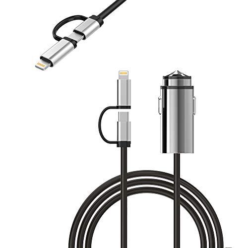 Anker Caricatore da auto 24W 2 Porte USB PowerDrive 2 con Cavo Lightning (90 cm) Incluso,per iphone e tanto altro