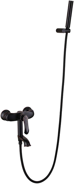 Handheld Showers Household shower Shower system Hot and cold bath faucet Hand shower set Cylinder faucet (color   Black)