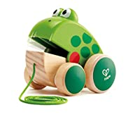 Frog-themed pull toy Frog's mouth opens and shuts when it is pulled by the cord Attractive, colorful design with big appealing eyes Sturdy wheels allow for easy pulling Allows children to take a friend with them when they explore