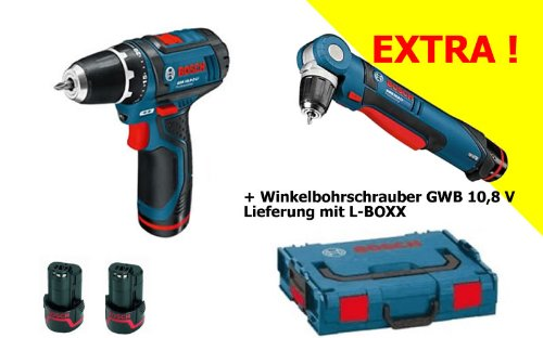 BOSCH Akkuschrauber GSR 10.8 + Akku-Winkelbohrschrauber GWB 10.8 - mit 2 Akkus + 31 tlg. BIT-BOX