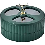 Living Room Storage Board, Coffee Table Tray Creative Household elk Double-Layer Round Snack Dried Fruit Tray 3 partitioned Candy Container Used for Family Wedding Christmas Party (Dark Green)