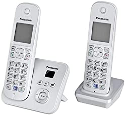 Panasonic KX-TG6822GS DECT cordless phone with answering machine, GAP phone, landline, perlsilver