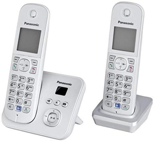 Panasonic KX-TG6824GB DECT draadloze telefoon met antwoordapparaat, 2 telefoons + antwoordapparaat, Duo mit Anrufbeantworter, Parelzilver