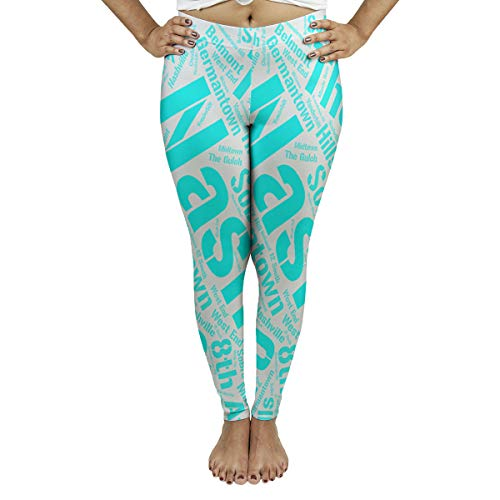 New ArtVerse Rand Cites Nashville, Tennessee Districts Word Art-Cyan Women's Leggings-Fasheen