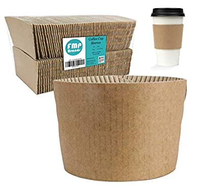 [125 Pack] Kraft Coffee Cup Sleeves - Brown Disposable Corrugated Cardboard Paper Jacket, Holds Hot and Cold Drinks, Espresso Coffee Milk Tea Beverage Insulator and Hand Protection