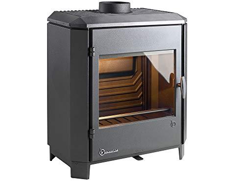 Invicta Poêle à bois en Fonte Carolo Noir - 8 kW - Surface de Chauffe 40 à 100 m² - Flamme Verte 7 étoiles