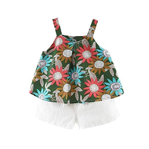 KEERADS KIDS été Printemps Floral Strap Tops Tenues de Pantalons Shorts Solides Ensemble Toddler Baby Kids Girl 0 1 2 3 4 5 6 7 9 Ans Les magasins Ont