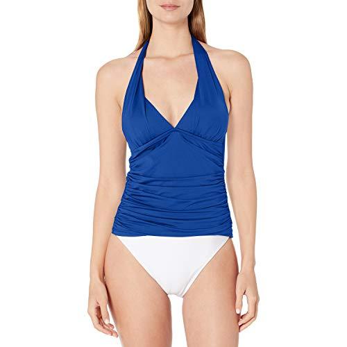La Blanca Women's Island Goddess Rouched Front Halter Tankini Swimsuit Top, Blueberry, 12