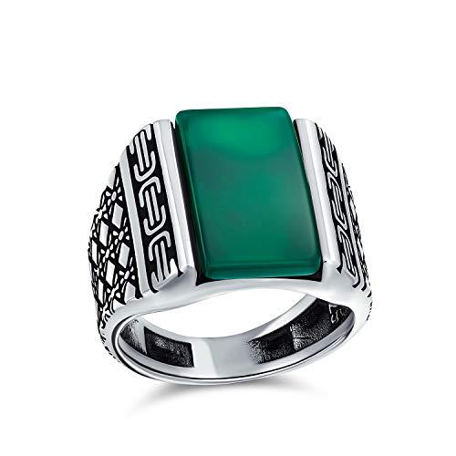 Diamante forma cable de grabado banda verde ágata rectángulo signet anillo para hombres pesado 925 plata de ley hecha a mano en Turquía