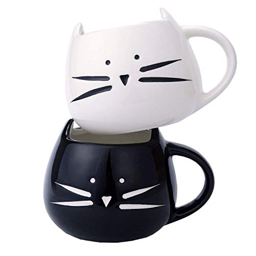 2 Pack Ilyever Funny Cute Cat Coffee Mugs for Crazy Cat Lovers Christmas Gift Cat Ceramic Cups for Coffee Tea Milk, Black and White
