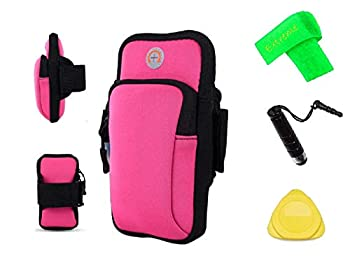for ZTE N818S QLink Wireless/Quest Plus Z3001s Sports Camping Hiking Armband Case Cover Running Jogging Arm Band Pouch Holder + Extreme Band + Stylus Pen + Pry Tool  Pink