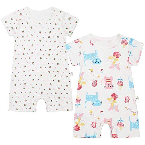 Hapipana ベビー服 2枚セット 夏 半袖 新生児 肌着 短肌着 ロンパース ボディースーツ 女の子 男の子 肩ボタン 綿100% 60 70 80 90 (猫・苺, 90)
