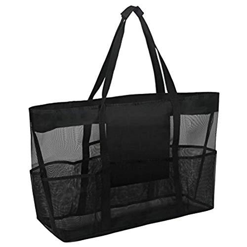 changping Large Mesh Beach Tote Bag Folding Shoulder Bag Multi-Functional Picnic Organiser Shopping Handbag with Zipper & Pockets