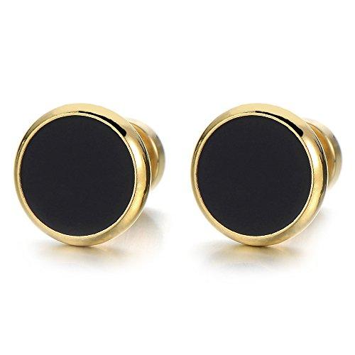 2 Oro Negro Enchufe Falso Fake Plug, Pendientes de Hombre Mujer, Aretes, Acero Inoxidable