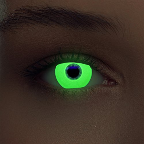 Designlenses Incandescente Lenti a Contatto Colorate Verde Senza diottrie per Halloween Costume + Gratis Caso di Lenti Modello Glowing Green