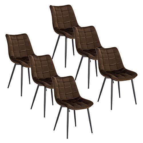 WOLTU 6 x Esszimmerstühle 6er Set Esszimmerstuhl Küchenstuhl Polsterstuhl Design Stuhl mit Rückenlehne, mit Sitzfläche aus Samt, Gestell aus Metall, Braun, BH142br-6