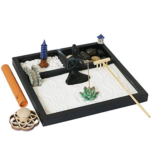 Tabletop Meditation Yoga Zen Garden - Office Desktop Japanese Relaxation Candle Rock Sand Box Bamboo...