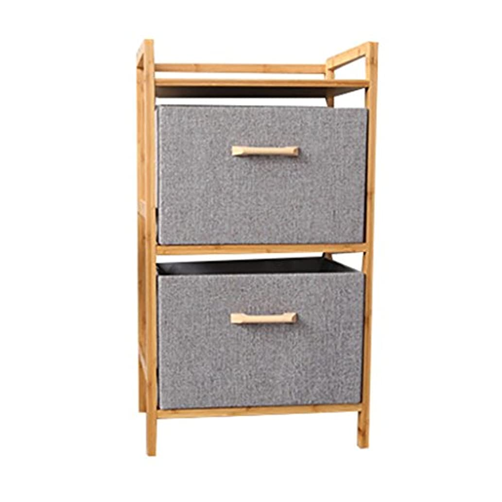 3-Shelf Shelving Unit with Drawers Wood Standing Organization Storage Rack Bookcase Standing Shelf Cabinet Cube Bamboo Bookshelf Display Shelves (Gray) (Size : Wood Handles)