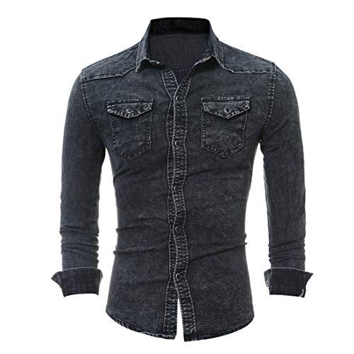 Jmsc Herren jeanshemd Herren Jeanshemd Langarm Jeansjacke Basic Stretch Jeanshirt mit Stehkragen Casual Denim Hemd Slim- Fit Langarm 2020 Neue Tops Männershirts 3XL