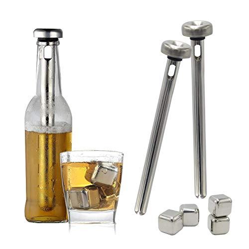 Shumo Bier Chiller Stick und Edelstahl Eisblock für Bier Wein Wasser Getr?NkeküHlung, 2 Sticks und 4 EiswüRfel