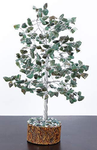Crystals and Healing Stones 7 Chakra Stones Green Aventurine Jade Healing Crystals Bonsai feng Shui Money Tree Sculptures Home Decor for Living Room Spiritual Gift 250 Beads 9-11 Inch Pendant Gift