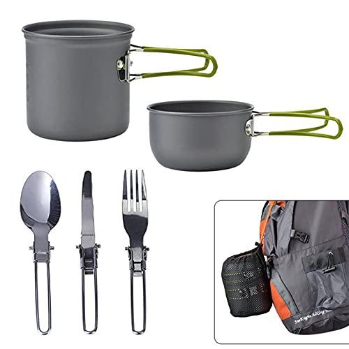 lefeindgdi Juego de vajilla de picnic, utensilios de cocina de alúmina dura portátil para acampar, senderismo, montañismo al aire libre
